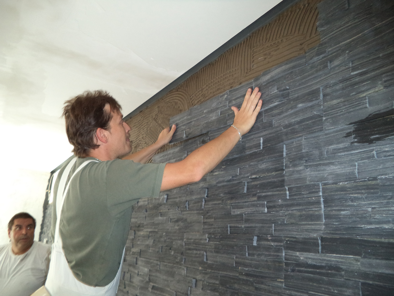 steinwand wohnzimmer anbringen, referenzen | maler rüger dudweiler, Design ideen